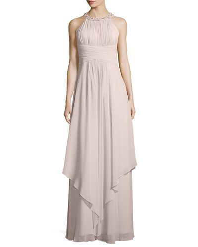 TBMTP Donna Morgan Sleeveless Beaded Halter Gown