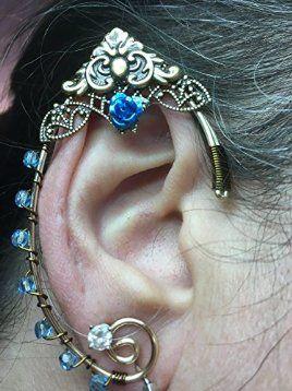 ELVEN EAR CUFFS Gold Bronze Filigree blue rose, Fairy Ear Cuffs, Cosplay Elf Ear Cuffs, Fantasy Costume Ear Cuffs