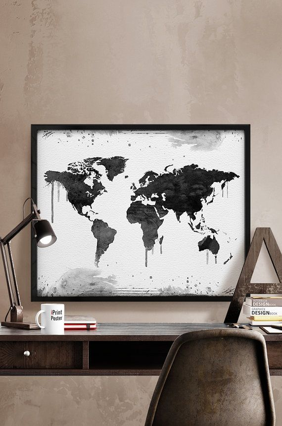 World map Art Print Watercolor World map poster by iPrintPoster