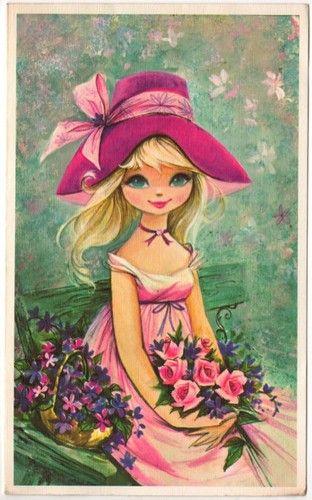 〆(⸅᷇˾ͨ⸅᷆ ˡ᷅ͮ˒).                                                     Vintage Greeting Card Girl in Hat