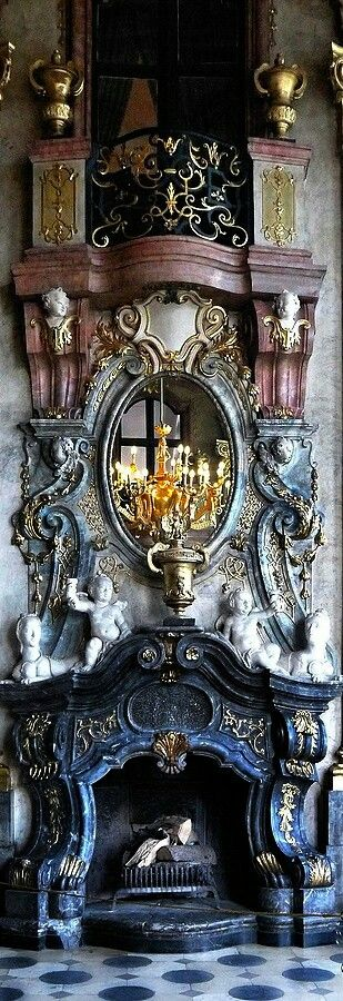 Ksiaz Castle Fireplace - Walbrzych Poland #poland #ksiazcastle#walbrzych#fireplace#architecture#vintage#architectures#antique#antiques#detail#interior#mirror#gold#chandelier#visit#details#tourism#castle#ksiaz#travel#holiday#antike#platz#places