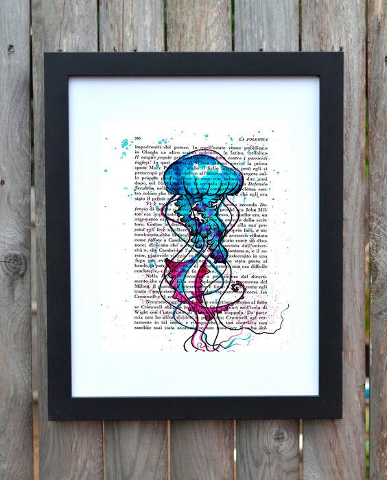 Beautiful watercolor jellyfish painted on a book page .  Now available as a print in my shop Etsy :)  https://www.etsy.com/it/listing/471450956/stampa-medusa-blu-viola-acquerello #Jellyfish #medusa #art #painting #watercolorart #watercolor #print #stampa #poster #etsyshop #artshare