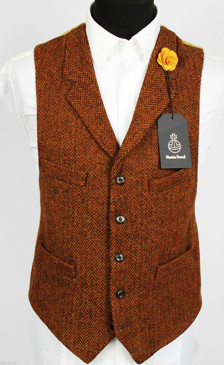 Harris Tweed Waistcoat Lapel Hand Tailored Wedding Medium 40 EXCLUSIVE ITEM…