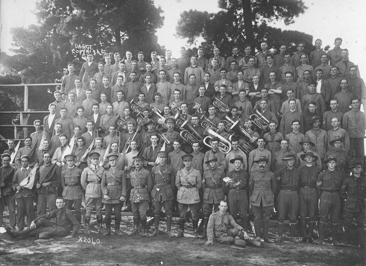 A Company and Band, 58 Inf Regiment CMF, training camp Broadmeadows, March 1918. R J Jacobsohn is standing fourth from left in the front row.  George William Clarke is standing in the seventh row, far right.
