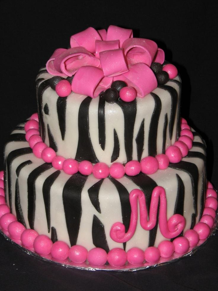 Funky Pink and Zebra Print Birthday Cake