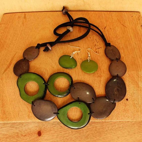 Green Statement Necklace and Earring Set  by ArtisansintheAndes