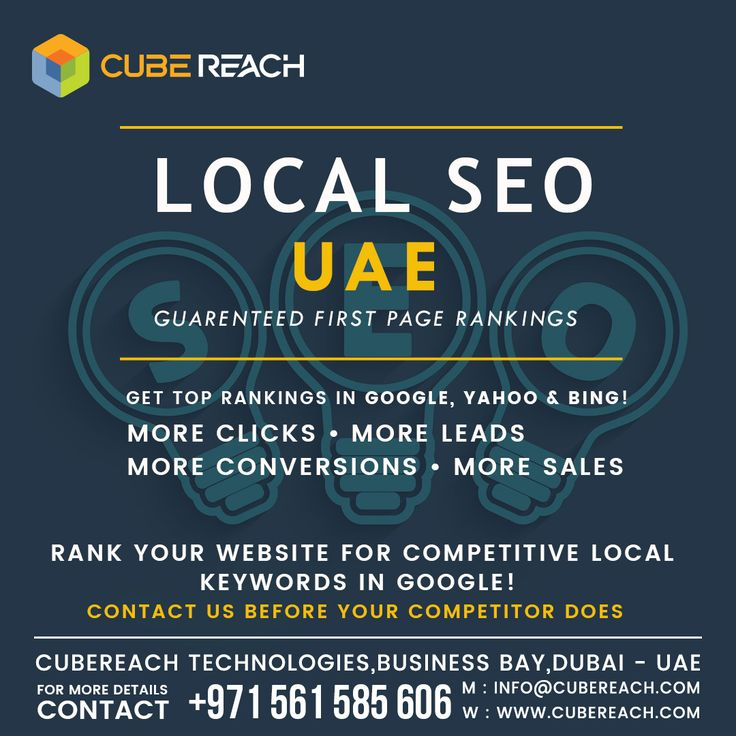 Local SEO Services GUARENTEED 1st Page Rankings!  We challenge you Google Page 1 rankings for local keywords that are Competitive Laser focused Buyer intent keywords Getting Top rankings in Google, Yahoo & Bing would get you More Clicks More Leads More Conversions More Sales  Completely White Hat SEO Strategies that will last for EVER! CALL US TODAY!  0561 585 606 (Available on WhatsApp and call)   Available 24x7 (Feel free to call or text any time)   Cube Reach Technologies…