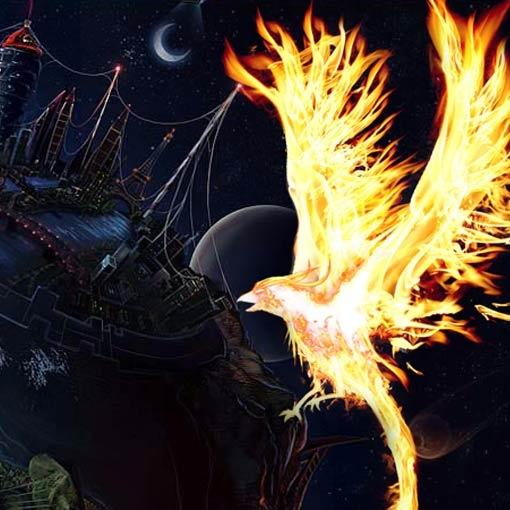 Firebird flies over the world at night