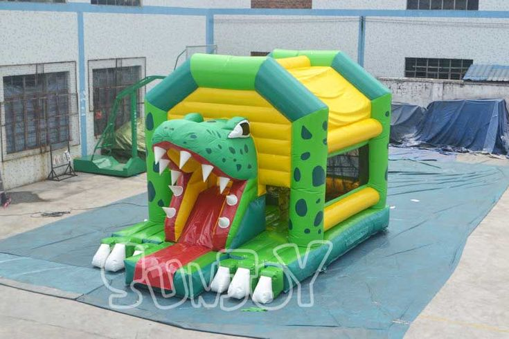 Crocodile Frame New Design Inflatable Combo For Sale, Sunjoy Provide Commercial Bounce House Slide With Obstacles Combos For Kids.