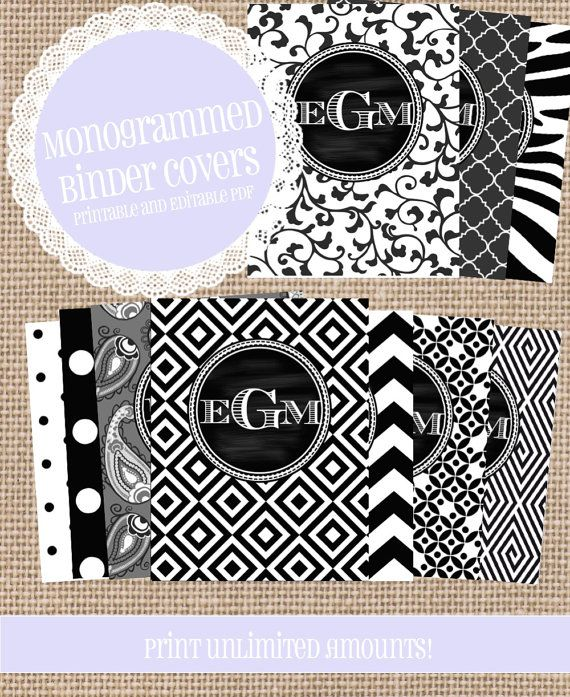 Monogrammed Binder Covers, Dress up your computer/phone background and your school/office binders with a monogrammed binder cover, matching spines, and back cover!
