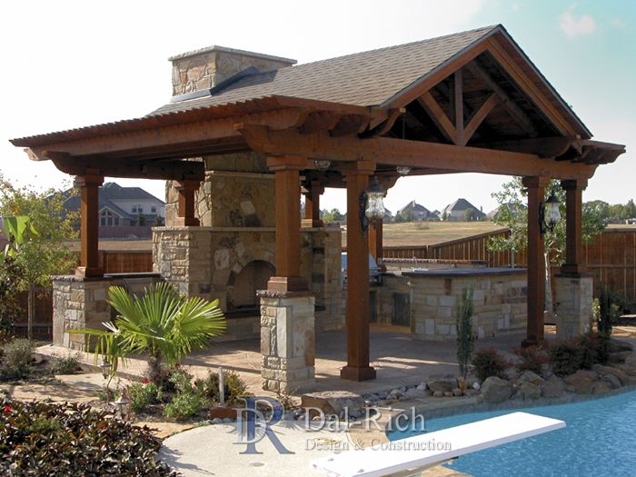 The 25 best pergola roof ideas on pinterest pergola for Plans for gazebo with fireplace