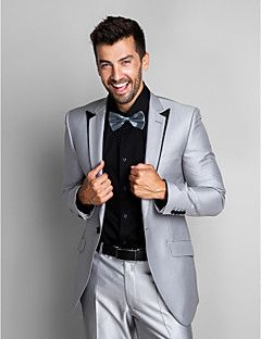 Gray Polyester Slim Fit Two-Piece Tuxedo