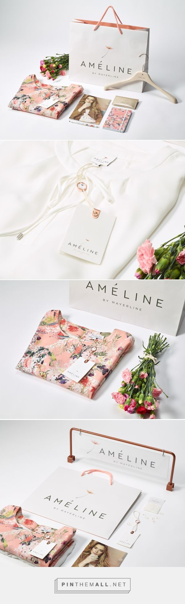 Branding, graphic design and packaging for Ameline By Mayerline brand design on Behance curated by Packaging Diva PD. Pretty fashion design and matching packaging.