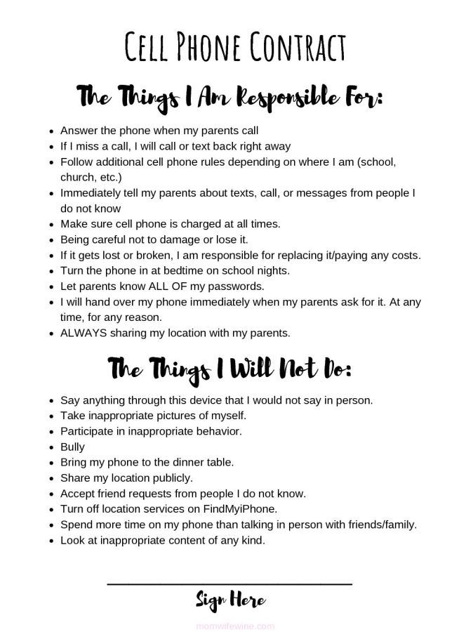 It's just a graphic of Playful Printable Cell Phone Contract for Tweens
