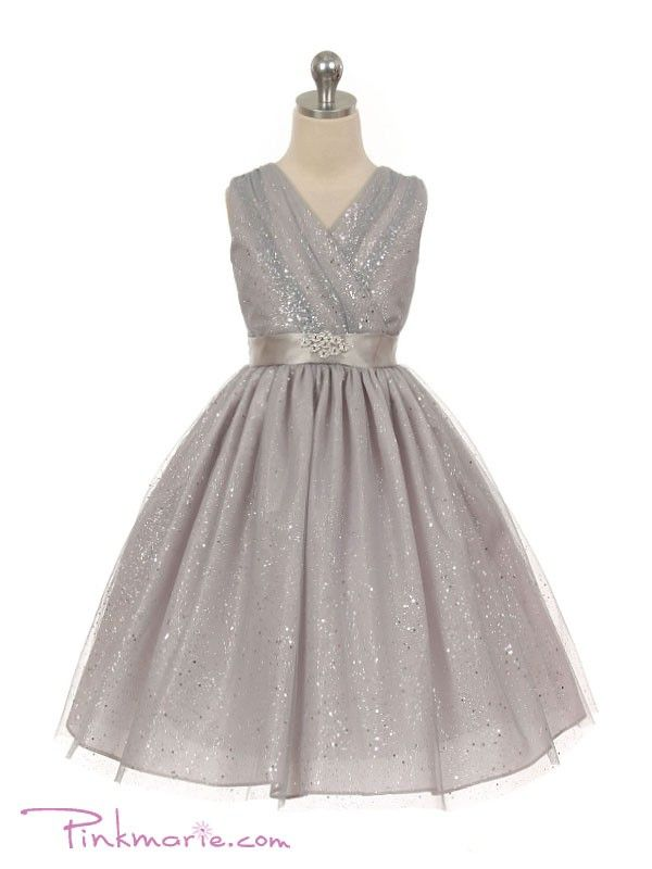 Silver V Neck Special Occasion Glitter Girl Dress