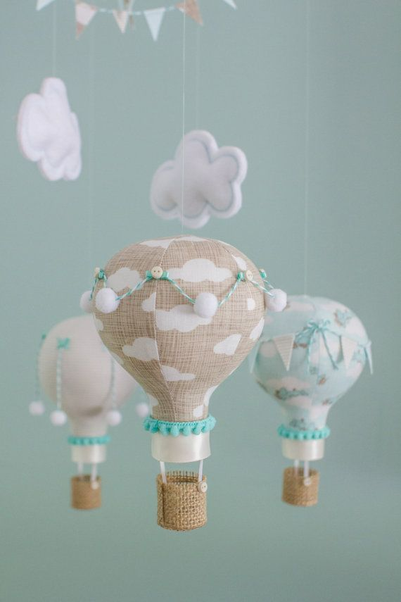 Hot Air Balloon Baby Mobile Vintage Travel by sunshineandvodka: