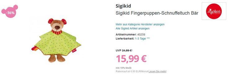 Sigikid Fingerpuppen-Schnuffeltuch Bär  #sigikid #puppen #spielzeuge #baby #babies #winter #sale #angebote