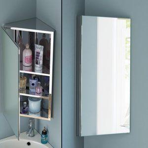 Stainless Steel Bathroom Corner Wall Cabinet Mirror