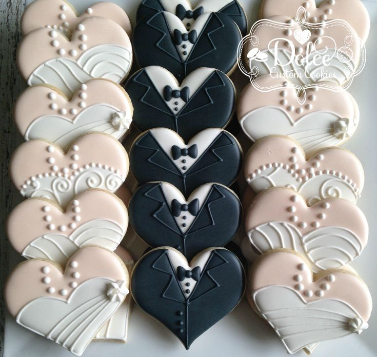 Wedding Dress Tuxedo Hearts Bridal Shower Engagement Anniversary Cookies – Cookies