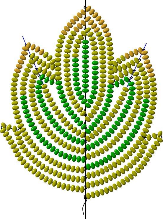 Схема листика (во французской технике) | biser.info - Бисер и бисероплетение
