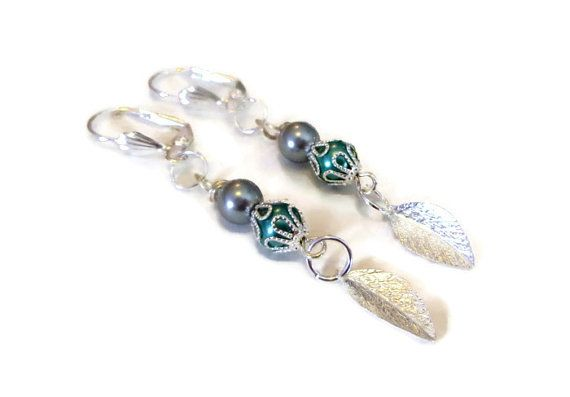 Silver Pearl Earrings with Dangling Silver Leaves. by BlissfulVine, $18.00