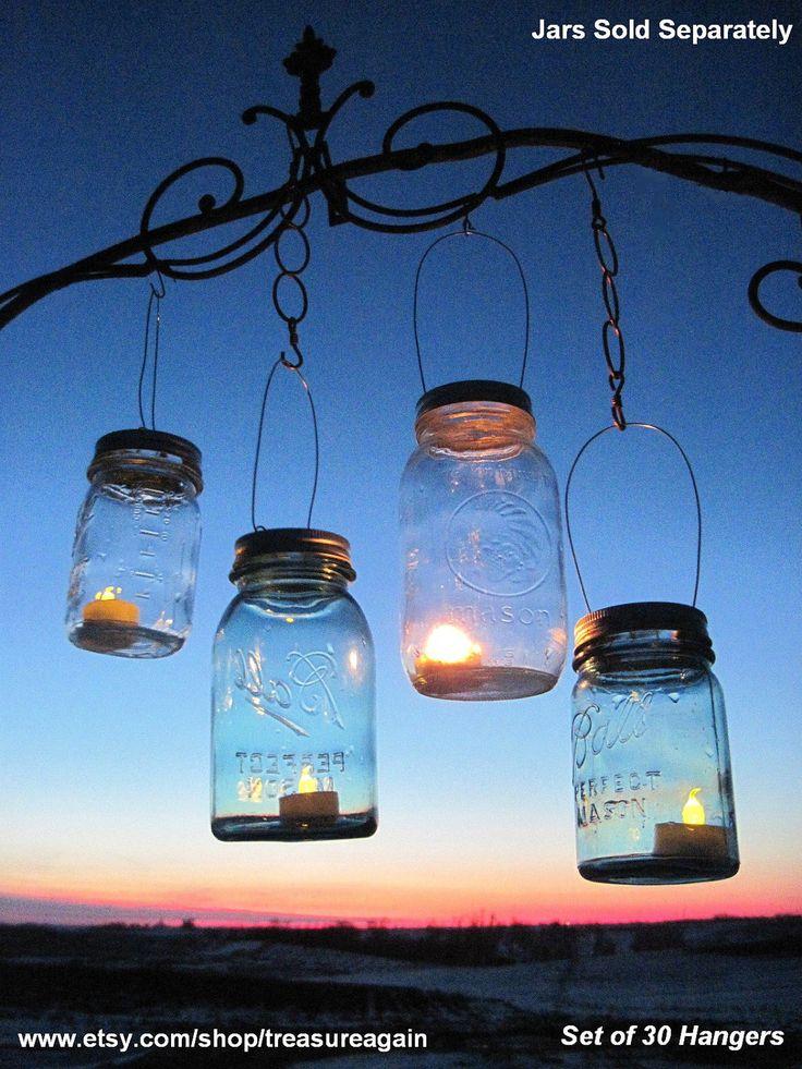 Mason Jar candle Lights   30 Candle Lantern night beach wedding