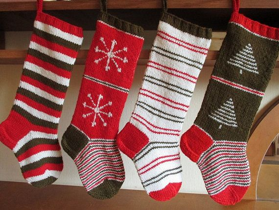 Hand knit Christmas Stocking Red Dark Moss Green White with  Tree Snowflakes Stripes ornaments  Christmas decoration Christmas gift
