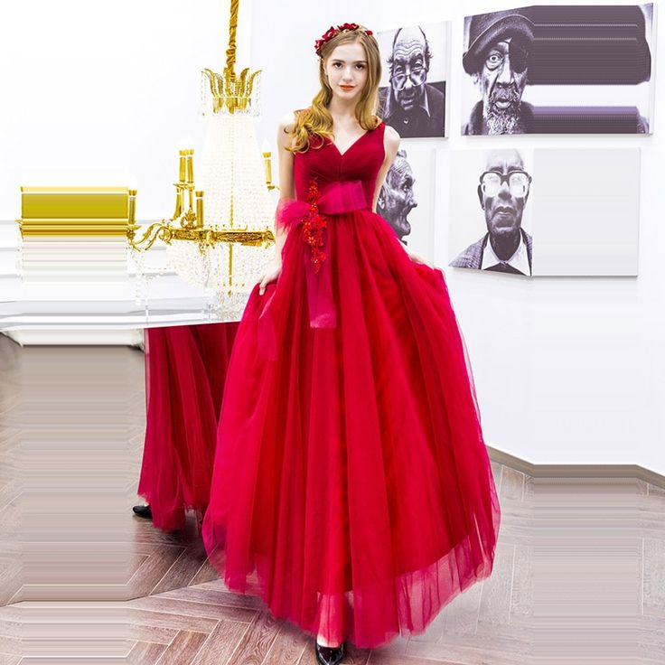 Evening Dresses bow sleeveless Women Party Dresses v-neck Robe De Soiree 2019 Long Plus Size Sexy red backless Prom Dresses E592