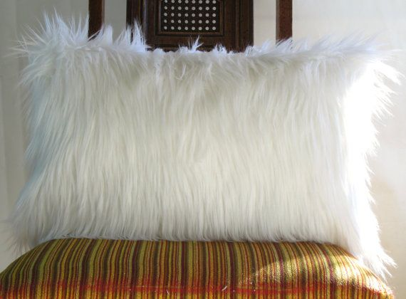 White fur pillow covers 12 X 20 decorative white by VFIllustration, $22.99