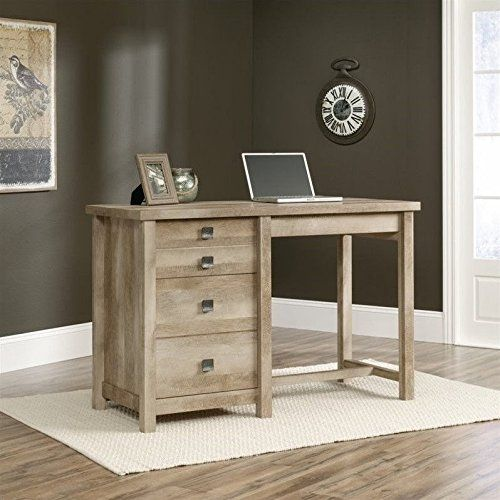 Sauder Cannery Bridge Tall 4-Drawer Work Table - Lintel Oak. Dimensions: 55.13W x 23.38D x 35.63H in. Transitional design with curved square drawer hardware. Quality engineered wood in light lintel oak finish. Metal runners and safety stops on all drawers. Sturdy frame featuring 2-inch thick legs.