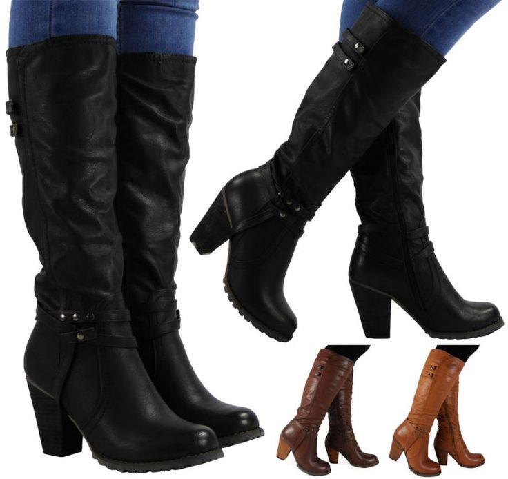 Womens Ladies panturrilha zíper Tachas De Moda Equitação Botas de salto alto Bloco sapatos tamanho