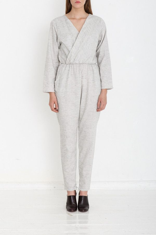MADE TO ORDER Long sleeve Jumpsuit - Grey Marl - Yasmin Raquel. Women's Fashion , Natural fibers , Handmade Clothing