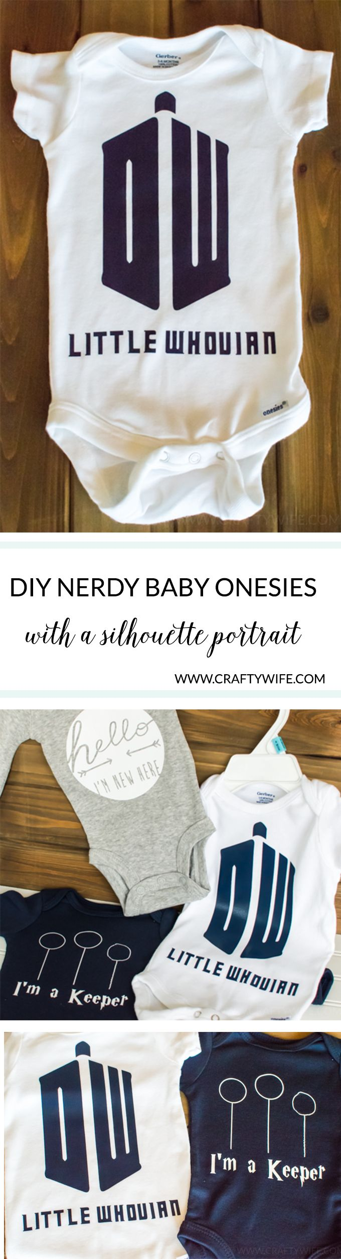 Make an easy baby shower gift for the nerdy mom-to-be with a silhouette portrait machine! These nerdy baby onesies are perfect for the ultimate Whovian or Potterhead.