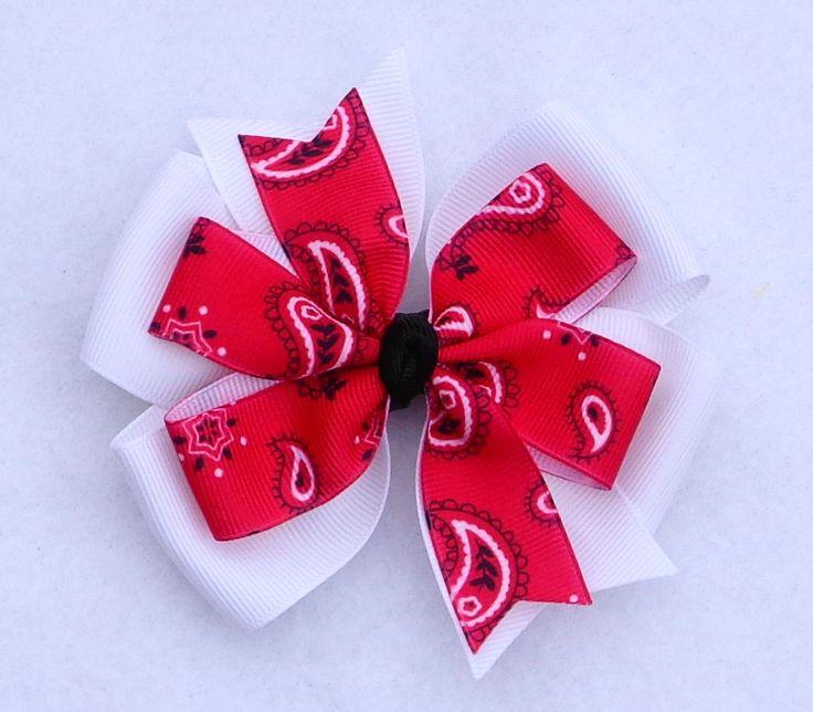 Basic Hair Bows, Red Bandana Hair Bow, 4-H Hair Bows, Large Pinwheel Bow, Country Girl Hair Bow, Western Hair Bow, Farm Themed Hair Bow by LizzyBugsBowtique on Etsy