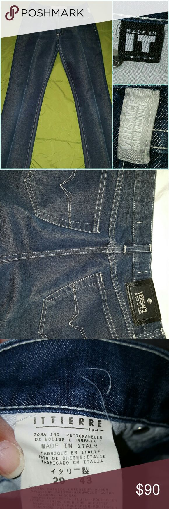 Marked 11% off ♨ ♨ Authentic Versace Jeans Couture 100% Authentic Versace Jeans Couture jeans! In great condition.   Fantastic designer denim in a dark wash straight leg. Signature Versace Medusa logo rivets, buttons, and back patch.  Pictures are worth a thousand words, So we have included thousands of words in pictures for you to view.   Inseam 30 Made in Italy  What you see ~ is what you get.  Pictures are of the actual item.   Zoom in for detail.  Please review pictures before buying…