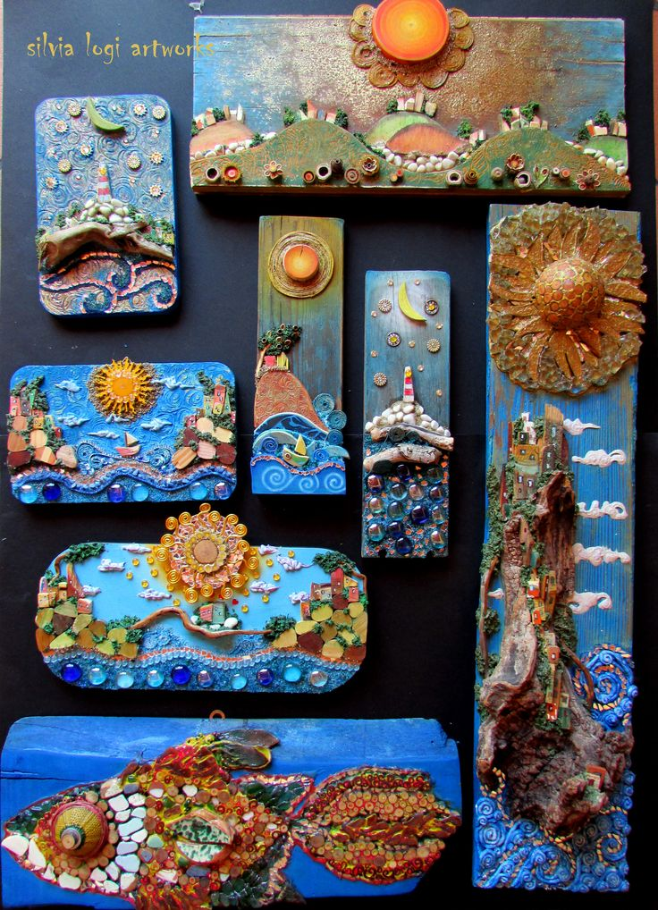 #blue #landscape #sea #mosaic #wood #fish , see more on my FB https://www.facebook.com/pages/Silvia-Logi-Artworks/121475337893535