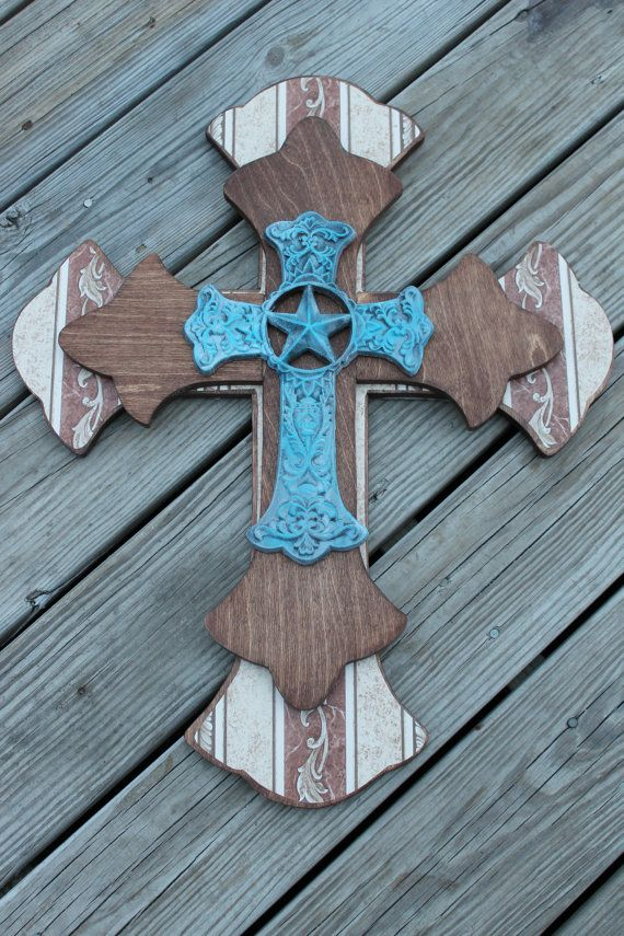 Western Decor Stacked Wood & Metal Decorative Cross Brown Turquoise Handcrafted on Etsy, $34.98