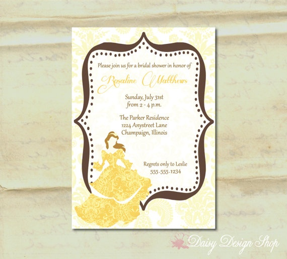 Bridal Shower Invitation - Princess Belle Silhouette in ...