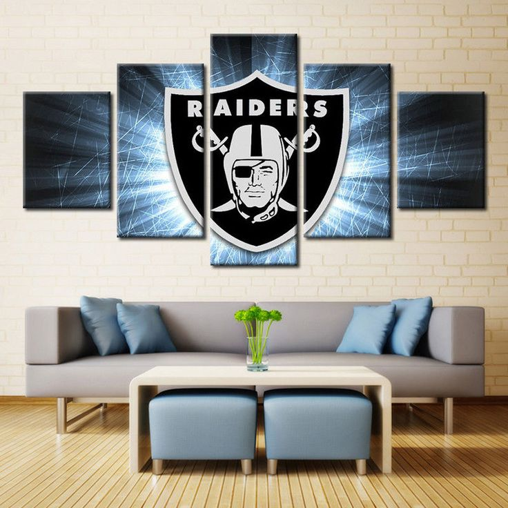 Oakland Raiders Team Sport Flag 5 pcs Painting Canvas Wall Art Poster Home Decor #Unbranded #OaklandRaiders