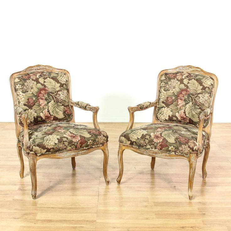 Best This Pair Of Louis Xv Style Accent Chairs Are Upholstered In A Durable Floral Tapestry Fabric 400 x 300