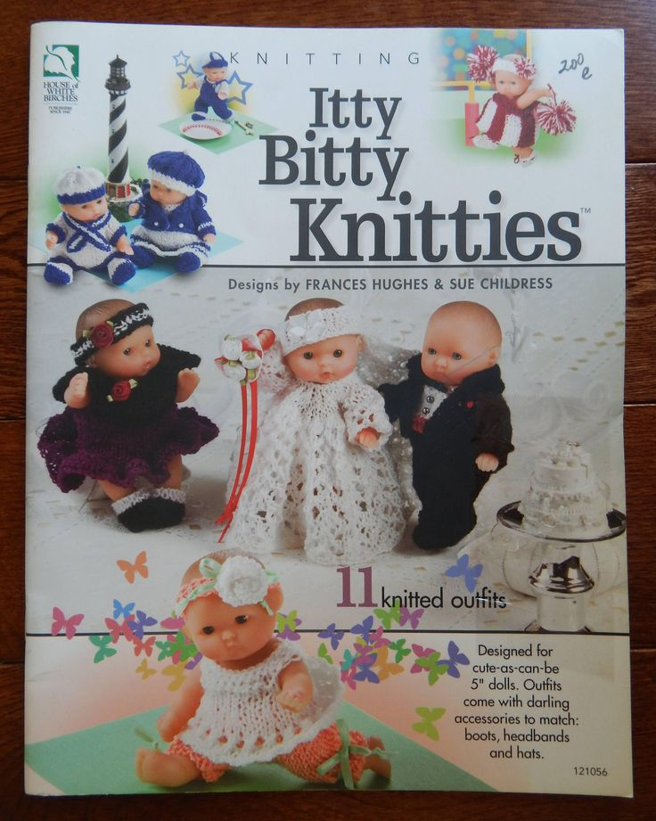 "Knitted Doll Clothes Patterns for 5"" Dolls/ Knitting Itty Bitty Knitties by Sue Childress & Frances Hughs/ 11 Outfits For Cute As Can Be by RedWickerBasket on Etsy"