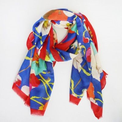 Redcurrent Cobalt & Red Floral Bright Scarf