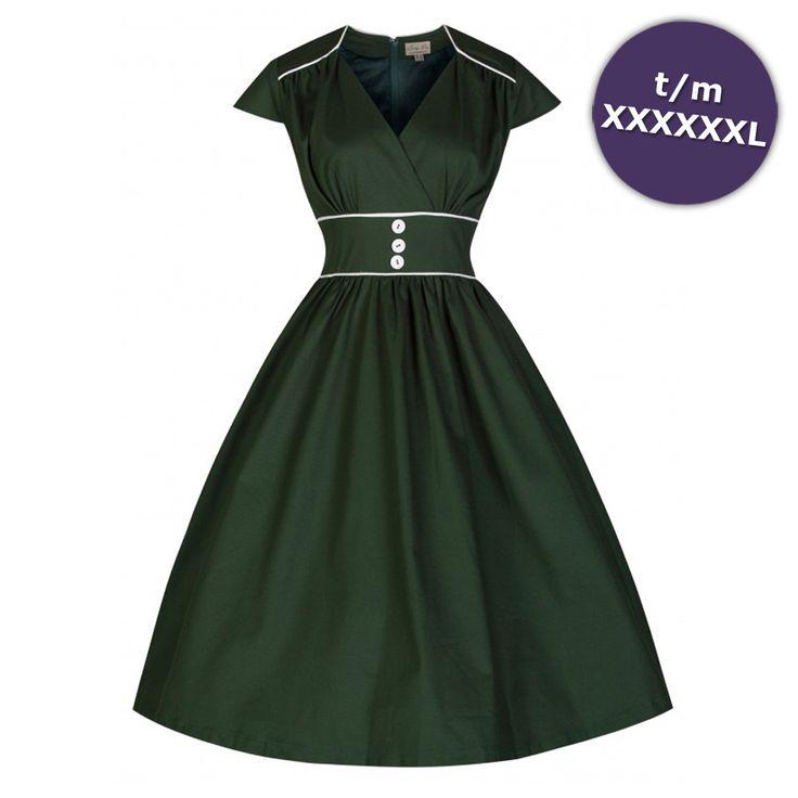 Polly lange jurk mos groen - Vintage, 50's, Rockabilly, retro
