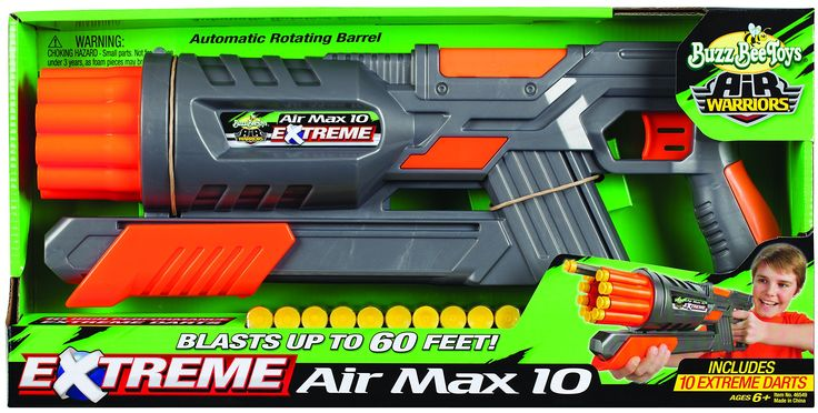 Buzz Bee Toys Air Warriors EXTREME Air Max 10 Blaster. EXTREME performance dart blaster. Automatic rotating barrel. Blasts Extreme darts up to 60 feet. Includes blaster and 10 Extreme soft foam suction darts. Recommended for children 6 years of age and older.