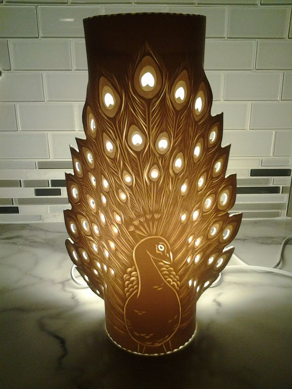 RESERVED PEACOCK LAMP. Handmade by GlowingArt. by GlowingArt