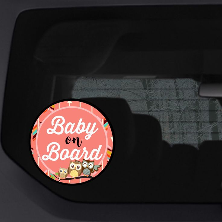 Owl family baby on board suction cup sign