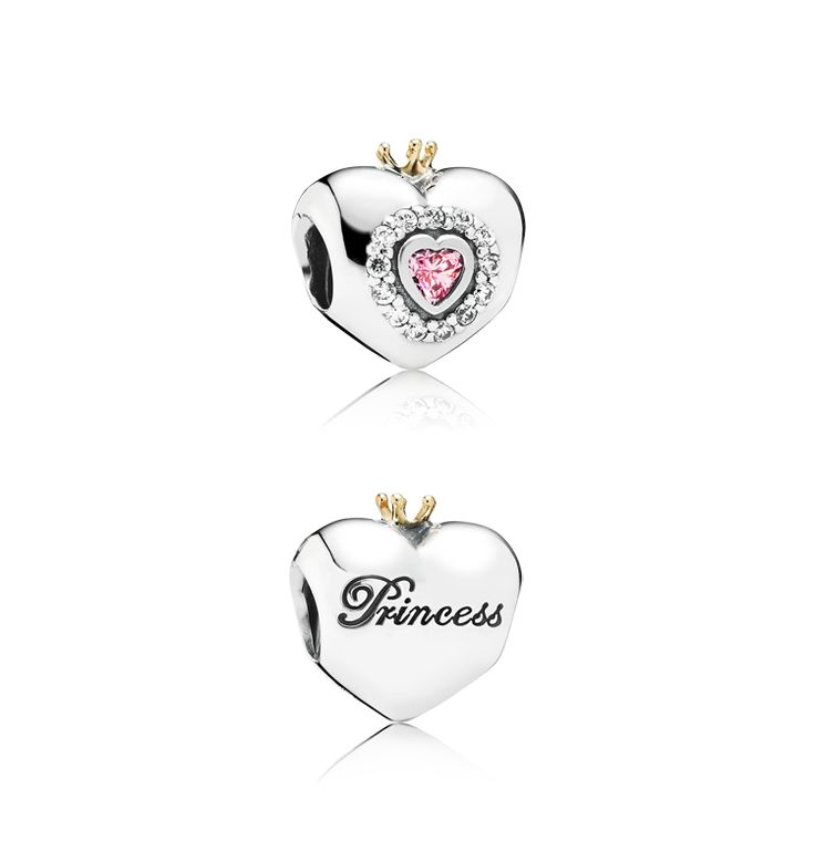 Become the princess in your own fairy tale with the cute heart charm crowned with a genuine 14k gold coronet and a pink heart-shaped stone with 35 facets. The perfect gift for newborn and grown-up princesses alike. $90 #PANDORA #PANDORAcharm #PANDORAaw14