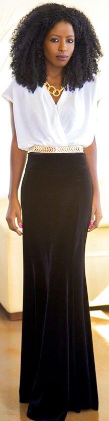 Black & White Maxi Skirt Outfit