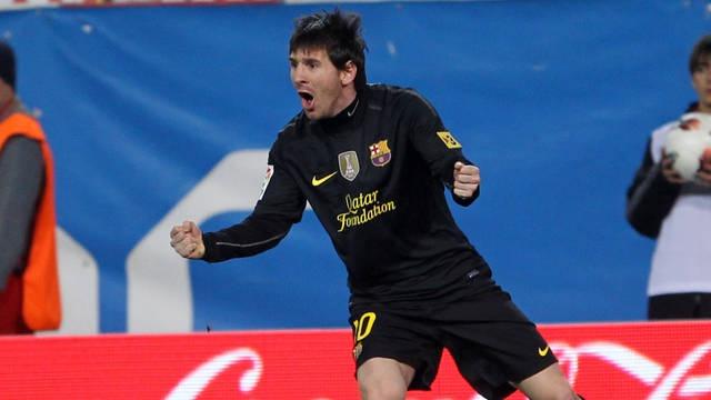 Lionel Messi after the goal in El Calderón