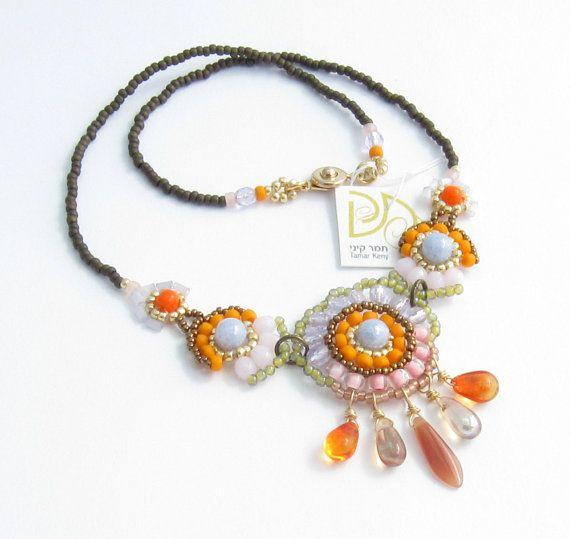Mandarino boho pastello beaded collana, collana di multi colore estate, regalo per lei, gioielli art deco